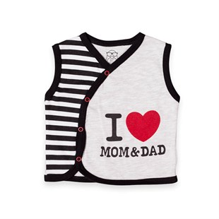 I Love Mom & Dad Oval Yelek Baby Cool
